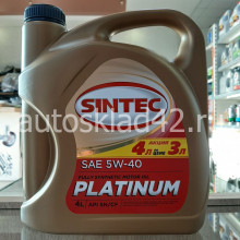 Масло моторное SINTEC Platinum SN/CF 5W-40 АКЦИЯ 4л по цене 3л