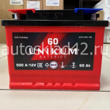 Аккумулятор UNIKUM 60Ah 12V 500A п/п Ca/Ca